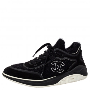 Chanel Black Suede And Fabric CC Low Top Sneakers Size 41