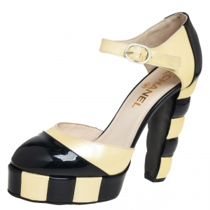 Chanel Black/Cream Patent Leather Ankle Strap Platform Pumps Size 38