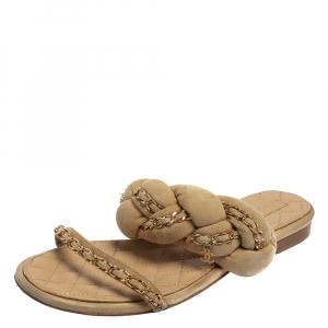 Chanel  Suede Chain Embellished Flat Slide Sandals Size 39