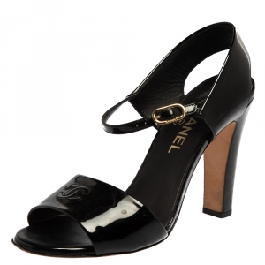 Chanel Black Patent Leather CC Ankle Strap Sandals Size 39.5