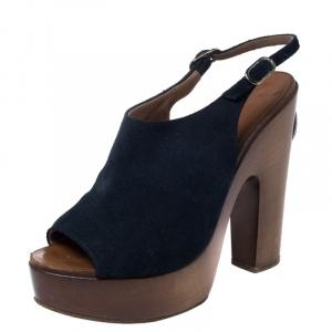 Chanel Blue Suede Platform Slingback Sandals Size 38