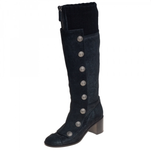 Chanel Black Suede And Knit Fabric Button Knee Length Boots Size 37.5