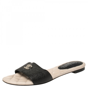 Chanel Black Leather CC Flat Slides Size 38