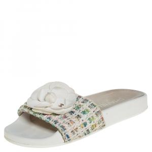 Chanel Multicolor Tweed Camellia Slide Sandals Size 37