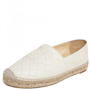 Chanel White Quilted Leather CC Espadrille Flats Size 39
