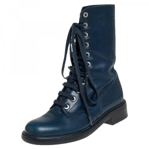 Chanel Blue Leather Combat Lace Up Mid Calf Boots Size 38.5
