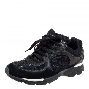 Chanel Black Suede And Leather Low Top Sneakers Size 35.5