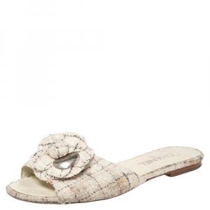 Chanel Multicolor Tweed Camellia Slide Flat Sandals Size 41 - used