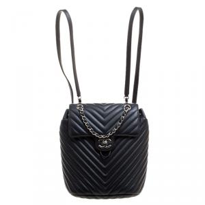 Chanel Black Chevron Quilted Leather Small Urban Spirit Backpack