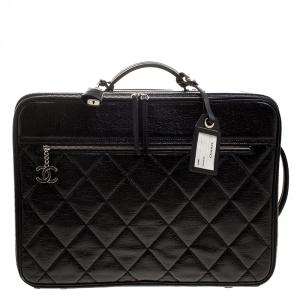 Chanel Black Quilted Glossy Coated Canvas Carry On Luggage