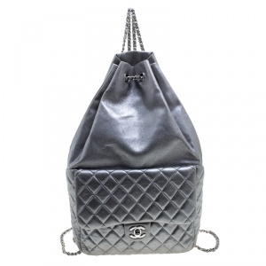 Chanel Silver Quilted Leather Large Seoul Backpack