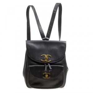 Chanel Black Caviar Leather Vintage CC Drawstring Backpack