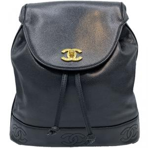 Chanel Black Leather CC Vintage Backpack
