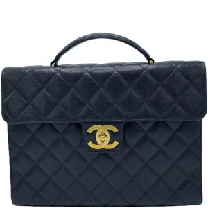 Chanel Black Quilted Leather Vintage Briefcase