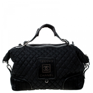 Chanel Black Quilted Nylon and Calfhair Oversized Weekender Bag