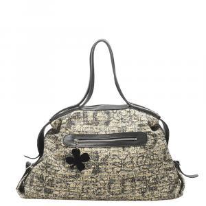 Chanel Gray Cotton Clover Travel Bag