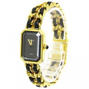 Chanel Black Gold-Plated Steel Premiere Rock Women's Wristwatch 20MM