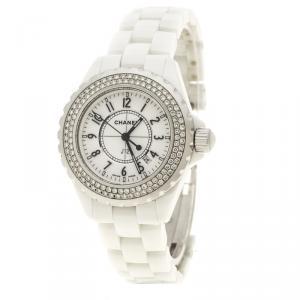 ساعة يد نسائية شانيل J12 ستانلس ستيل سيراميك بيضاء 33 مم