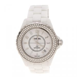 ساعة يد نسائية شانيل J12 ألماس ستانلس ستيل سيراميك بيضاء 38 مم