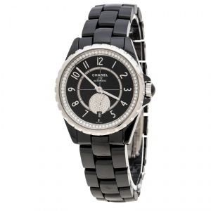 Chanel Black Ceramic and Stainless Steel Diamonds J12-365 H3840 Women's Wristwatch 36 mm