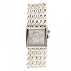 ساعة يد نسائية شانيل مادموازيل H 1434 ذهب أبيض عيار 18 وألماس لؤلؤ 23 مم