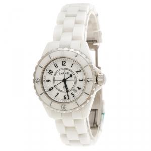 ساعة يد نسائية شانيل J12 سيراميك وستانلس ستيل بيضاء 34 مم