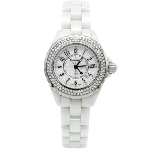 Chanel White Ceramic J12 Diamond Bezel Women's Watch 33MM