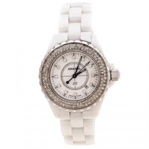Chanel White Stainless Steel Ceramic Diamonds J12 Women's Wristwatch 33 mm