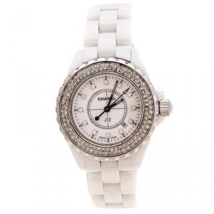 ساعة يد نسائية شانيل J12 ستانلس ستيل و ألماس و سيراميك أبيض 33 مم