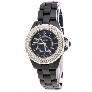Chanel Black Ceramic Stainless Steel Diamonds J12 Women's Wristwatch 34 mm
