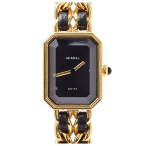 Chanel Black Gold Plated and Leather Premiere H0001 Women's Wristwatch 20x26MM