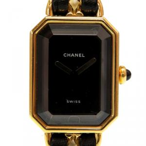 Chanel Black Stainless Steel and Leather Premiere H0001 Quartz Women's Wristwatch 26MM