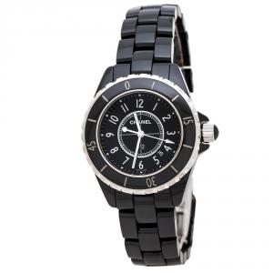 ساعة يد نسائية شانيل J12 H0682 سيراميك أسود و ستانلس ستيل سوداء 33 مم