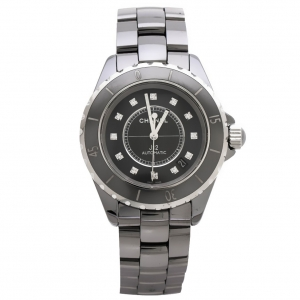 Chanel Grey Ceramic Stainless Steel Diamond J12 H3242 Women's Wristwatch 38 mm