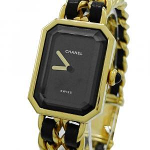 Chanel Black Gold Plated Stainless Steel Premiere Quartz Women's Wristwatch 20 MM