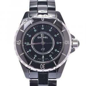 Chanel Black Emerald Silver Ceramic And Stainless Steel J12 H2130 Women's Wristwatch 33 MM
