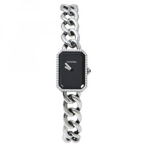 ساعة يد نسائية شانيل بريميار شين أتش3252 ألماس ستانلس ستيل سوداء 33 x 16 مم