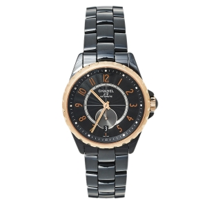 Chanel Black 18K Rose Gold And Ceramic J12 H3838 Automatic Women's Wristwatch 37 mm