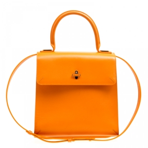 Charlotte Olympia Orange Leather Bogart Top Handle Bag