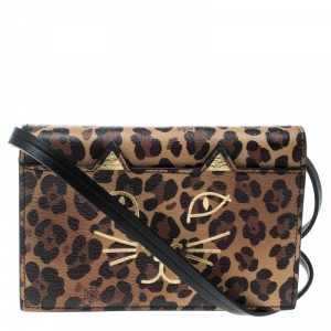 Charlotte Olympia Brown Leopard Print Leather Feline Purse Shoulder Bag