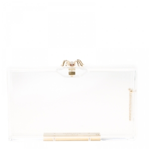 Charlotte Olympia Clear Perspex Chain Pandora Classic Box Clutch