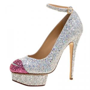 Charlotte Olympia Two Tone Glitter Kiss Me Dolores! Ankle Strap Platform Pumps Size 39.5