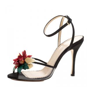 Charlotte Olympia Black Canvas And PVC Tropicana Embellished Sandals Size 40