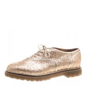 Charlotte Olympia Metallic Dull Gold Glitter Stefania Oxfords Size 38