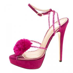 Charlotte Olympia Pink PVC and Suede Pomeline Peep Toe Platform Sandals Size 40
