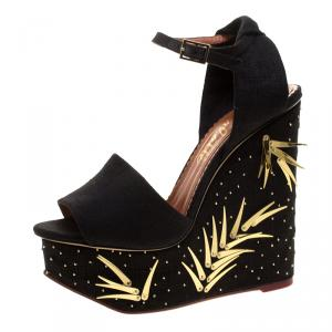 Charlotte Olympia Black Canvas Mischievous Peep Toe Embellished Wedge Sandals Size 37.5