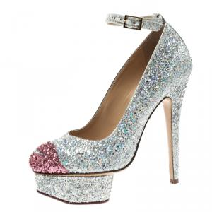 Charlotte Olympia Two Tone Glitter Kiss Me Dolores! Ankle Strap Platform Pumps Size 36