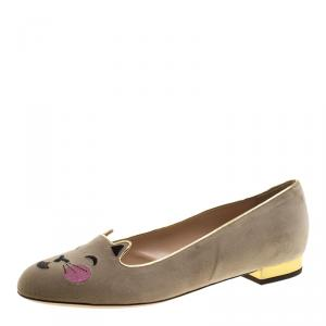 Charlotte Olympia Beige Velvet Emoticats Cheeky Kitty Flats Size 39.5