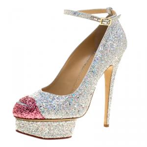 Charlotte Olympia Silver Glitter Kiss Me Dolores! Ankle Strap Platform Pumps Size 41