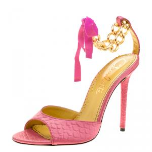 Charlotte Olympia Pink Satin Chain Ankle Strap Sandals Size 40